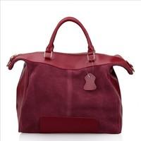 2013 Fall New Fashion,Simple Elegant Versatile Suede Glazed Patchwork Genuine Leather Handbag ,women Tote bag