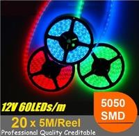 (20pcs/lot) 12V SMD 5050 5M/Reel LED Strip light 5 Meter 300leds LED tape Ribbon Red Blue Green Yellow White warm RGB