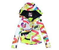Free shipping 2013 big grid waterproof snowboard jacket girls windproof ski jacket ski suit parka skiwear skee anorak for women
