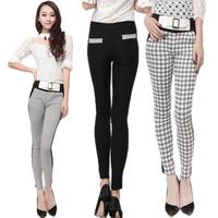 2013 women's  Autumn Pants & Capris  PLUS sizecummerbund slim stripe elastic pencil pants casual trousers high waist legging