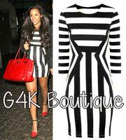 Womens Celeb Monochrome Black White Striped Optical Illusion Party Bodycon Dress