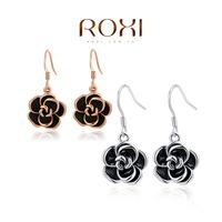 ROXI Brand Hot slae fashion black flower rose gold earrings for women Christmas Gift Fashion Jewelry