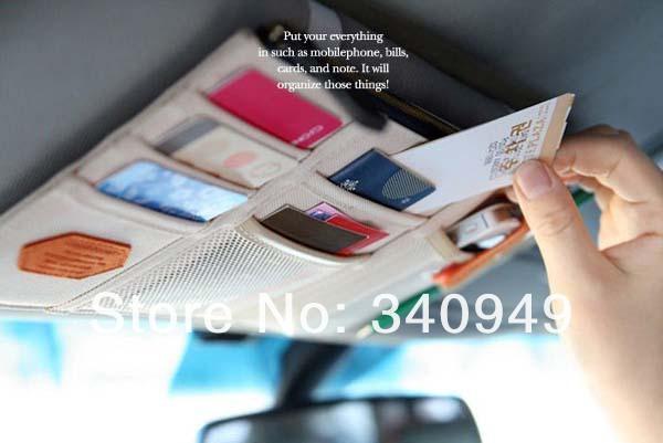 Free Shipping+Car bag 3 colors multi-purpose Sunvisor point pocket auto car hanging storage bag,100pcs/lot(China (Mainland))