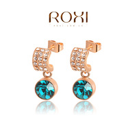 ROXI Brand fashion green crystal earrings for women,real rose gold plated,Chrismas gifts,new arrival,Fashion Jewelry,2020006380