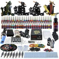 Complete Tattoo Kit 4 Pro Machine Guns 54 Inks Power Supply Needle Grips TK451