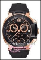 2014 Original Large dial black rubber band chronograph quartz movement sapphire Deluxe Waterproof Calendar Men's Watch
