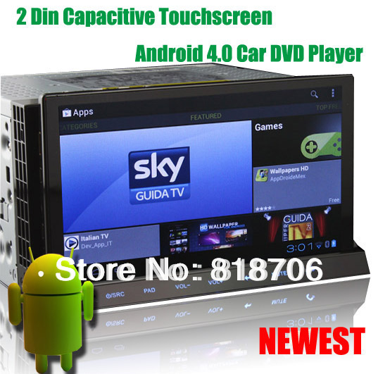 2 Din 7 Inch Capacitive screen Car PC Android 4.0 Car DVD Player With WiFi 3G GPS Navigation Cortex-A10 Free 4GB Map Card KS8835(China (Mainland))