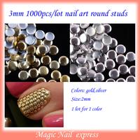 Fashion New 3mm round nail art spikes studs 3D Metal DIY nail art Decoration  1000Pcs/lot