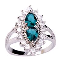 Wholesale Bezel Pear Cut Green Sapphire & White Sapphire 925  Silver Ring Size 6 7 8 9 PRECIOUS JEWELRY