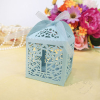 Free Shipping Laser Cut Favor Box Blue Wedding Party Supplies Christian Baptism Paper Gifts Boxes for Candy 12pcs/lot