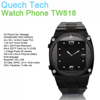 "Wholesale Music 1.54"" Watch Mobile Phone TW818 GPRS 1.3MP Camera TF SIM Card Slot Bluetooh 450mAh Battery Free Shipping In Stock"