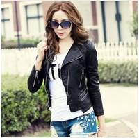 Hot,Women's Fashion Spring Autumn New PU leather Outerwear.Korean Women Leather Jacket,S-M-L-XL-2XL-3XL.Free Shipping!