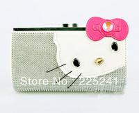 2013 HELLOKITTY latest fashion Czech diamond with a small head layer cowhide fashion purse free shipping