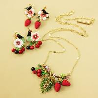 Wholesale Jewelry Crystal Enamel Glaze Cherry Strawberry Fruit Necklace Earrings Statement Designer 2013 New Free Shipping