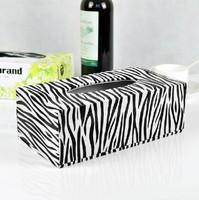 Free shipping fashion zebra print leather tissue box fashion household pumping paper box table napkin paper car