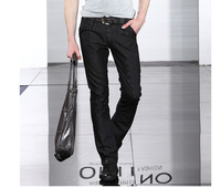2013 men Trousers fashion male black denim trousers fashion skinny pants Men straight skinny pants Free shipping