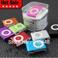 Free shipping Christmas gift  mini Belt Clip  MP3 player with retail package include earphone usb cable gift box