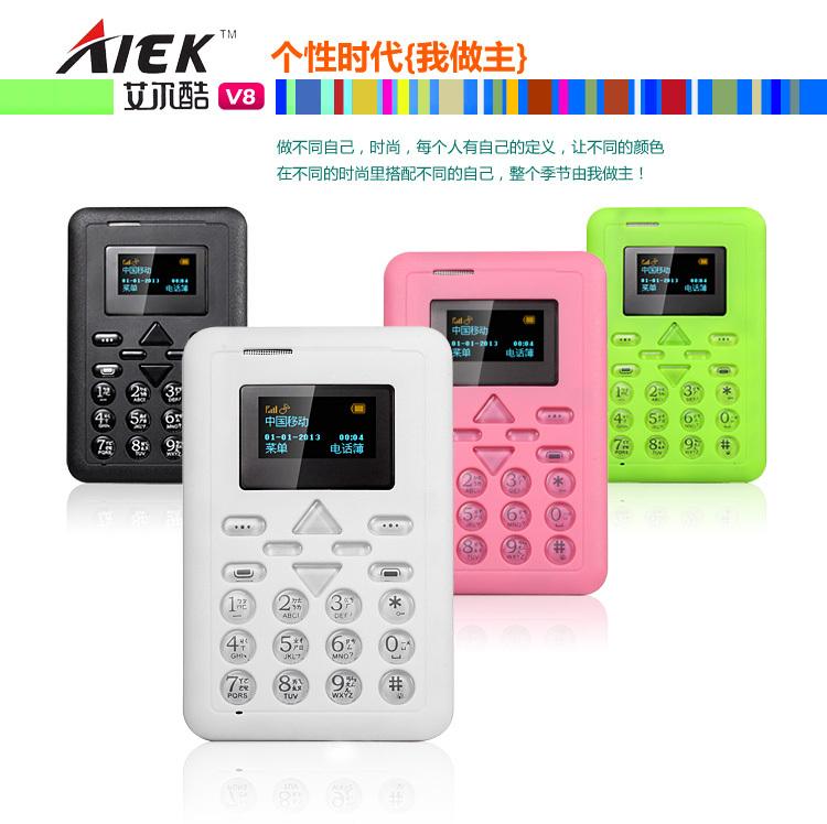 Factory Sale ALEK V8 Mini Card Phone AIEK V8 Cell phone MP3 FM Player Bluetooth music phone Can TF 4G Russian(China (Mainland))