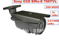 "DHL EMS Free Shipping:High Resolution 700TVL 1/3"" SONY Effio-E CCD 72 IR LED Waterproof Outdoor Security CCTV Camera OSD Menu"