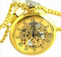 Gold fashion quality Machinery pocket watch high-grade mechanical watch  bracelet watch gift present free shipping  promotion