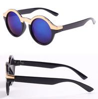 Fashion popular circular frame sunglasses unique metal horizontal stripe decoration sunglasses