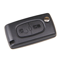 2 Buttons Folding Flip Remote Key Case Shell Blade Without Groove With Battery Holder for PEUGEOT 107 207 307 308 407 408 607