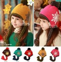 ON SALE!Children Snow Acrylic Bomber Hats Boy Girl Beanies Earflap Cap Kids Winter Hat Baby Warm Skullies 5 Colors Free Shipping