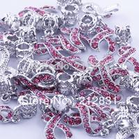 FREE SHIPPING, SALE 20 pcs Rose Crystal Rhinestone Ribbon Cancer AWARENESS Ribbon Charms Bead Pendant Fit Charm Bracelets