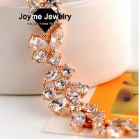 Joyme Brand  New 2014 AAA Quality White Zircon Crystal Bracelet Leaves Chain bracelet Girl friend Gift  Bracelets & Bangles