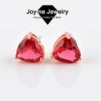 Joyme 2014 New Style Top Quality Gold Plated Cubic zirconia CZ Stone Stud Earrings Brief Heart Shape Earrings Women Jewelry