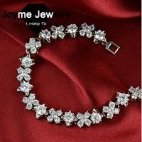 Joyme brand new 2014 Women Fashion Noble Golden&Platinum Plated Copper Zircon Bracelet Best For Gift bracelets & bangles