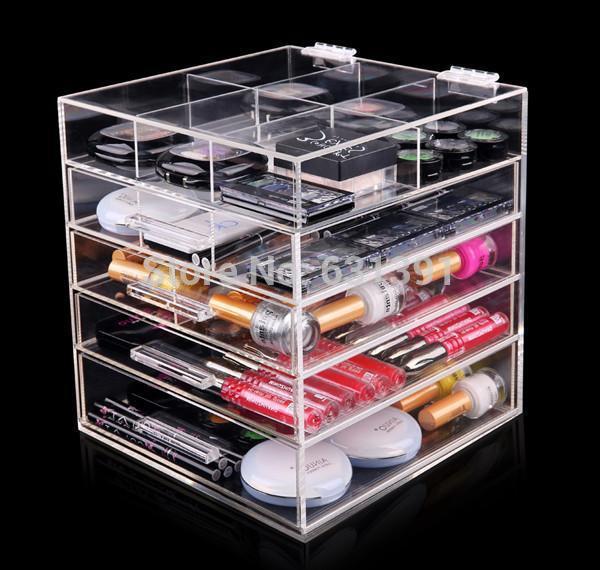 5 Gaveta de alta qualidade organizador de maquiagem de acrílico transparente(China (Mainland))