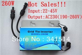 260W Waterproof Solar Power Inverter / Solar Micro Power Inverter /  Grid Tie  Inverter Waterproof 22-45V Input , 220V Output