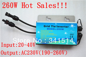 260W Waterproof Solar Power Inverter / Waterproof Grid Tie Power Inverter / Solar Micro  Inverter / 20-40V Input , 220V Output