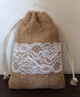 "Size: 4'X6"",100pcs/lot, Jute burlap drawstring bag with lace for wedding, jute pouch, custom size acceptable"