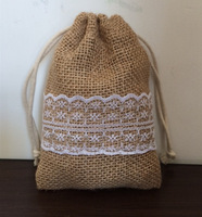 "Size: 4""X6"", 100pcs/lot, Burlap drawstring bag with lace, Jute burlap gift drawstring bag for wedding, custom size acceptable"