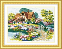 Needlework Beautiful Home garden Dream house DIY Embroidery Cross Stitch Sets Kits Home Decor Crafts Art