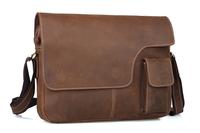 """Men messenger genuine leather retro bags 14"""" laptop satchel large school bag TIDING 1092"""