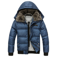 Free shipping  M~XXL Men Winter Jacket  Cotton Padded  Hooded Outwear Men Thick Coat