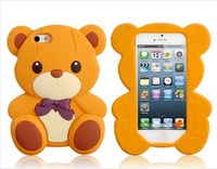 3D Bear Shaped Silicone Case for i 5 (Brown)