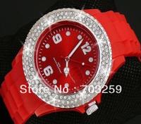 50pcs 43mm full rhinestone cuff analog watch EG-IST003 women fashion rubber silicone diamond crystal stone watches designer 2013