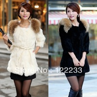 Free shipping Winter women's 2013 faux fur medium-long faux overcoat  rabbit fur outerwear plus size s - 5xl  coat  belt is free