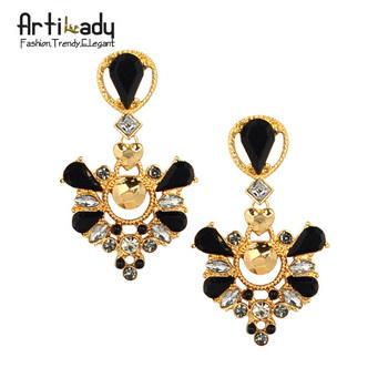 Artilady gold plated crystal drop earrings  fashion 2015 winter design vintage  women earring jewelry free shipping