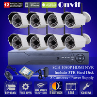 8CH H.264 NVR System 2.0 MegaPixel 1080P Resolution  HD 48IR Wireless WIFI Network CCTV IP Camera With 3TB HDD