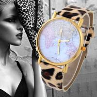 Unisex quartz Watch Map printing picture alloy women rose gold dial dress watch men analog wristwatches