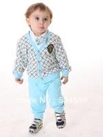 new arrival 2013 Autumn boys' 100% cotton set triangle set fashion plaid European style 3 pcs infant 1-3years baby set