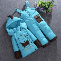 Retail 2014 new baby boys girls winter jacket parkas down coat suits coat+pants 2 pieces clothing set