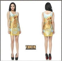 Free  shipping Blackmilk sunflower dress yellow hip slim one-piece dress female slim fashion