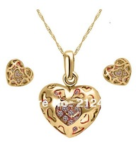 2013 New Fashion 18K Gold Plated  Austrian Crystal Heart Jewelry Set,Crystal Necklace and Earrrings,Cheap Wedding Jewelry Set
