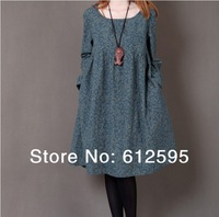 Brand new women's/ maternity cotton shivering slightly thick autumn spring loose plus size casual long-sleeve one-piece dress